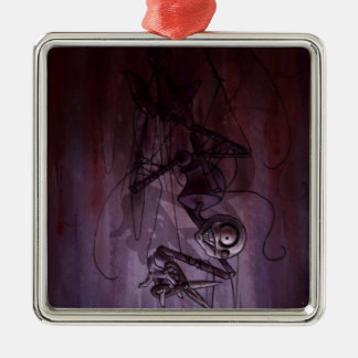 Sinister Descent, Creepy Puppet Cutting Strings Christmas Tree Ornament