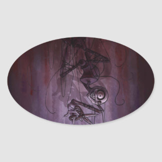 Sinister Descent, Creepy Puppet Cutting Strings Oval Sticker