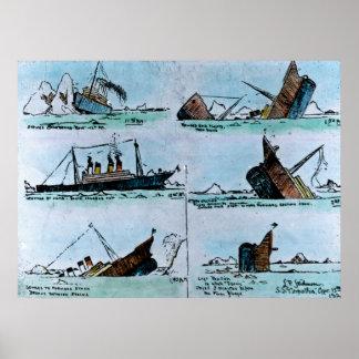 Sinking of the RMS Titanic Vintage Illustration Print