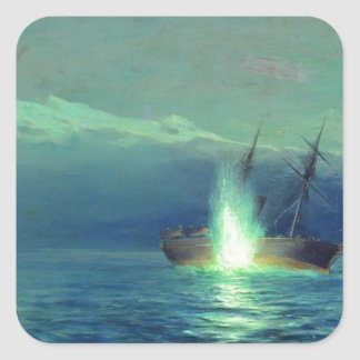 Sinking the Turkish steamer 'Intibach' by boats Square Sticker
