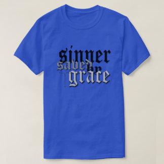 sinner saved by grace drk blu t t shirt