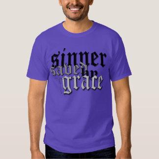 sinner saved by grace drk pur t tee shirt