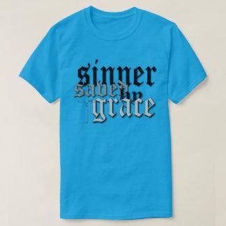 sinner saved by grace drk t var teal t-shirt