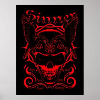 Sinner Skull Poster (Red)