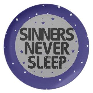 Sinners Never Sleep Melamine Plate