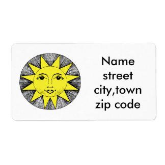 Sinshine amarillo del verano etiquetas de envío