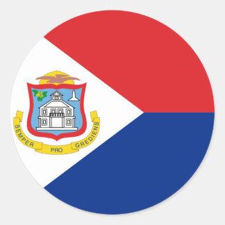 Sint Maarten, bandera de San Martín, Pegatina Redonda