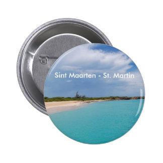 Sint Maarten - escena de la playa de San Martín Pin Redondo De 2 Pulgadas