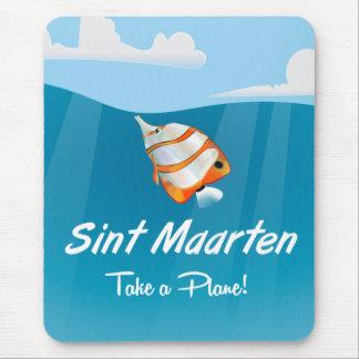 Sint Maarten holiday travel poster cartoon. Mouse Pad