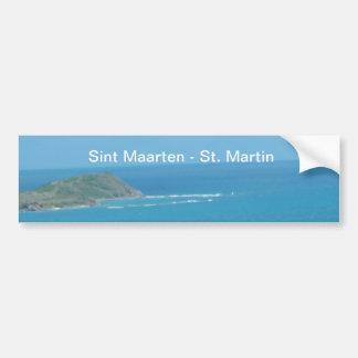 Sint Maarten - paisaje marino del azul de océano d Pegatina De Parachoque