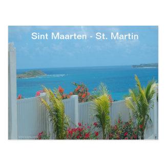 Sint Maarten - paisaje marino del azul de océano d Tarjetas Postales