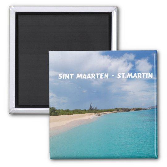 Sint Maarten - St. Martin Beach Scene 2 Inch Square Magnet