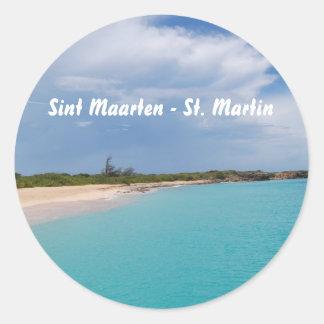 Sint Maarten - St. Martin Beach Scene Classic Round Sticker
