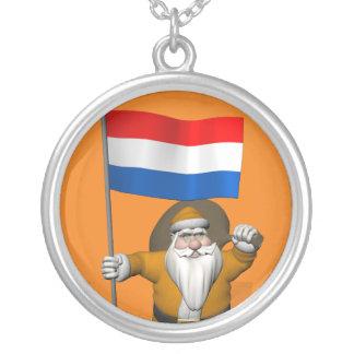 Sinterklaas con la bandera de Holanda Colgante Redondo