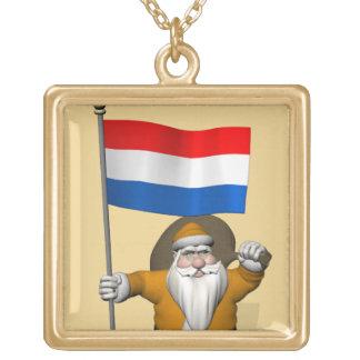 Sinterklaas con la bandera de los Países Bajos Colgante Cuadrado