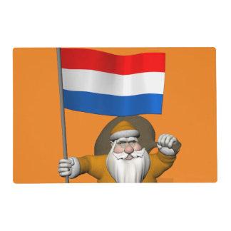 Sinterklaas con la bandera de los Países Bajos Tapete Individual