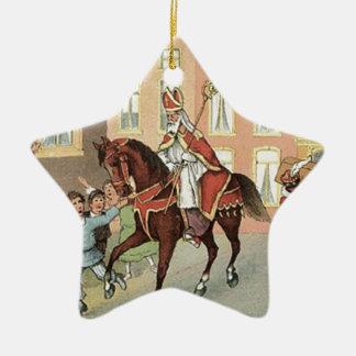 Sinterklaas Dutch St. Nick Vintage St. Nicholas Ceramic Ornament