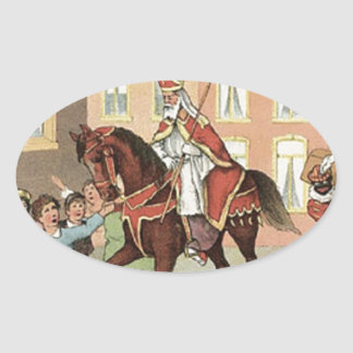 Sinterklaas Dutch St. Nick Vintage St. Nicholas Oval Sticker