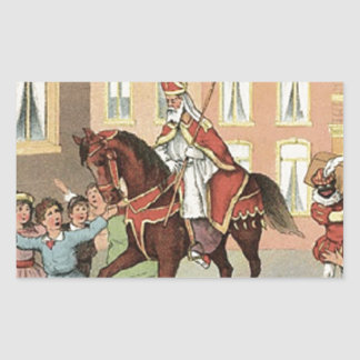 Sinterklaas Dutch St. Nick Vintage St. Nicholas Rectangular Sticker