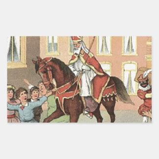 Sinterklaas Dutch St. Nick Vintage St. Nicholas Rectangular Sticker