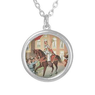 Sinterklaas Dutch St. Nick Vintage St. Nicholas Silver Plated Necklace