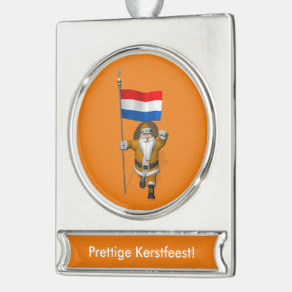 Sinterklaas With Ensign Of The Netherlands Silver Plated Banner Ornament