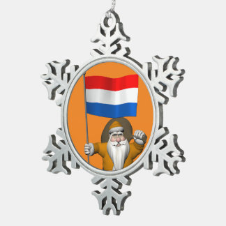 Sinterklaas With Ensign Of The Netherlands Snowflake Pewter Christmas Ornament