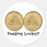 Sintiendo afortunado, monedas de Santa Etiquetas