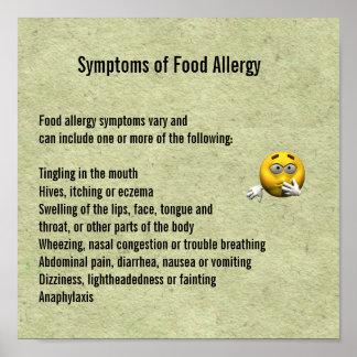 Síntomas de la alergia alimentaria póster