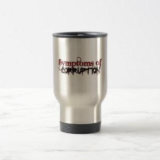Síntomas de la taza de café del viaje de la corrup