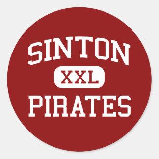 Sinton - piratas - High School secundaria - Sinton Pegatina Redonda