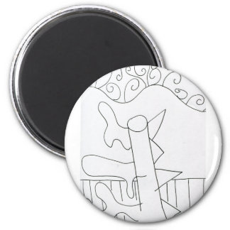 Sinuous Land Scape 2 Inch Round Magnet