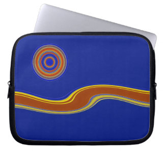 Sinuous River & Moon Striped Laptop Sleeve