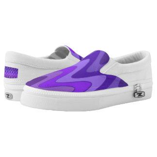 Sinus Waves pattern - purple violet + your ideas Slip-On Sneakers