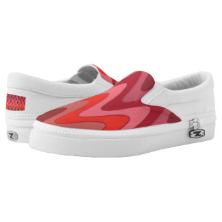 Sinus Waves pattern - red mix + your ideas Slip-On Sneakers