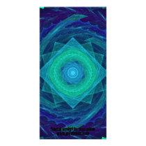 Sinusoidal Sawblade Mandala in Blue-Green Colors Card