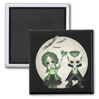Siobhan and James Little Gothics 2 Inch Square Magnet