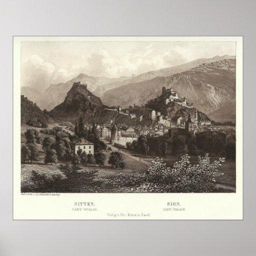 Sion en Suiza de la impresión antigua Póster