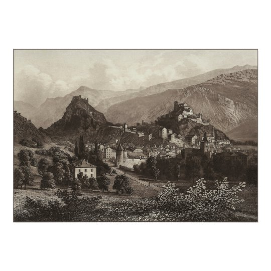 Sion in Switzerland from Antique Print