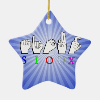 SIOUX  ASL FINGERSPELLED SIGN CERAMIC ORNAMENT