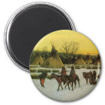 Sioux Camp at Wounded Knee by John Hauser 2 Inch Round Magnet