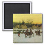 Sioux Camp at Wounded Knee by John Hauser 2 Inch Square Magnet