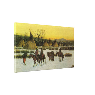 Sioux Camp at Wounded Knee by John Hauser Canvas Print