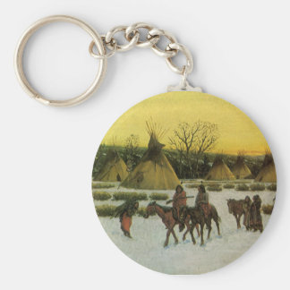 Sioux Camp at Wounded Knee by John Hauser Basic Round Button Keychain
