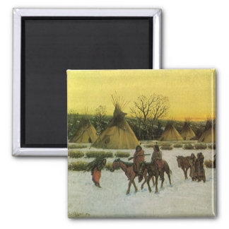 Sioux Camp at Wounded Knee by John Hauser Magnet