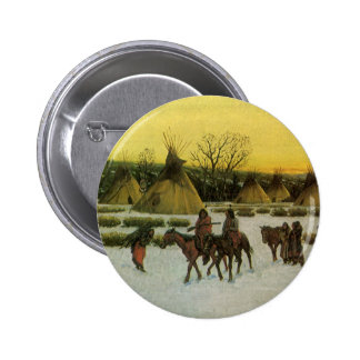 Sioux Camp at Wounded Knee by John Hauser Pinback Button