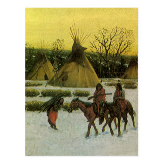 Sioux Camp at Wounded Knee by John Hauser Postcard