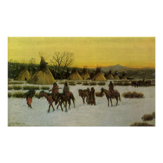 Sioux Camp at Wounded Knee by John Hauser Poster