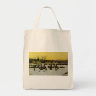 Sioux Camp at Wounded Knee by John Hauser Tote Bag