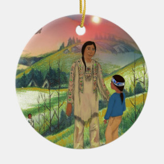 Sioux chief and son ceramic ornament